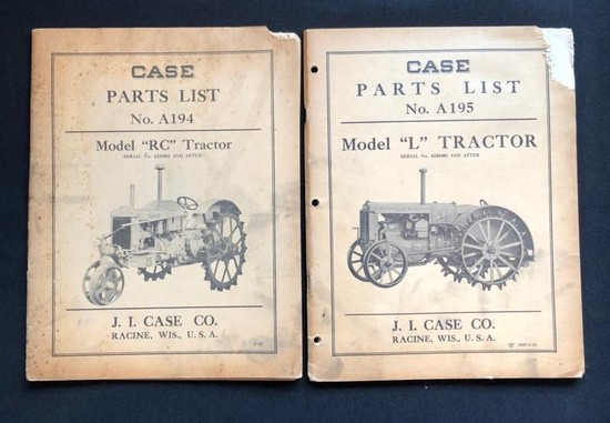"CASE MODEL ""L"" AND MODEL ""RC"" TRACTORS PARTS LIST CATALOGS"