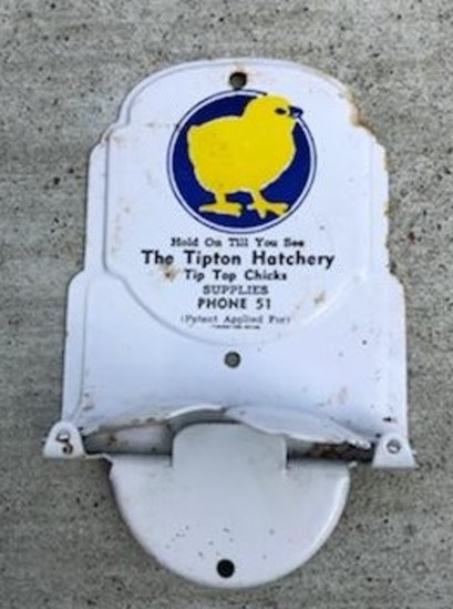 """THE TIPTON HATCHERY"" ADVERTISING  BROOM HOLDER"
