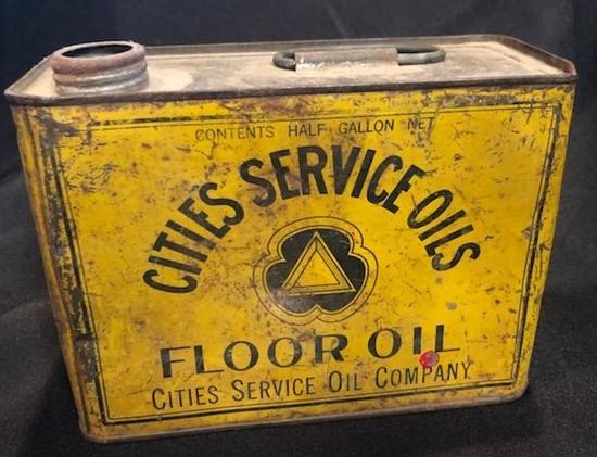 "RARE - ""CITIES SERVICE OIL - FLOOR OIL"" ADVERTISING TIN"