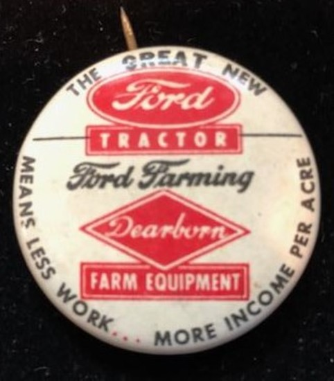 FORD TRACTOR - FORD FARMING PIN BACK ADVERTISING BADGE