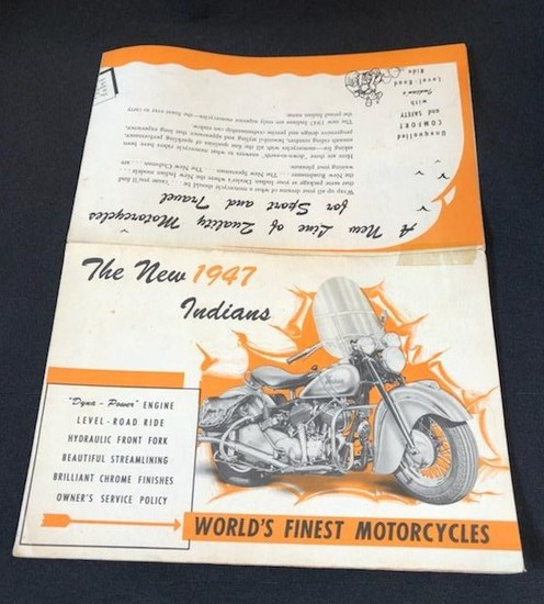 1947 INDIAN MORTORCYCLE ADVERTISING PAMPHLET