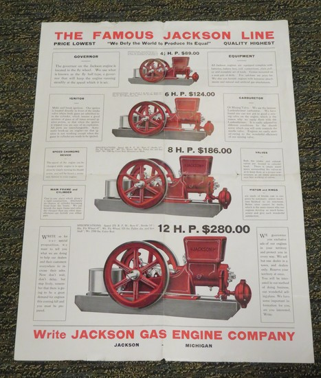 JACKSON GAS ENGINE COMPANY - SALES BROCHURE