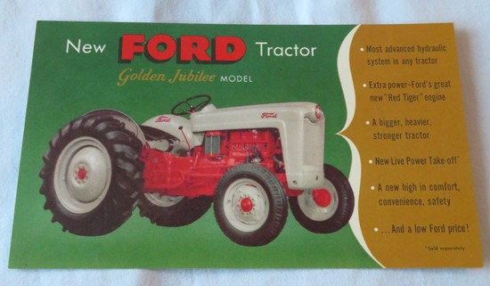 FORD GOLDEN JUBILEE TRACTOR - ADVERTISING CARD