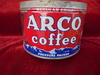 """VINTAGE """"ARCO"""" COFFEE ADVERTISING ONE POUND CAN-GOOD COLOR"""