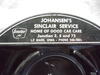 OLD BLACK HARD PLASTIC SINCLAIR ADVERTISING ASH TRAY FROM LE MARS IOWA
