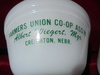 MATCHING SET OF VINTAGE FEDERAL  BOWLS WITH ADVERTISING FROM CREIGHTON NEBRASKA