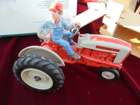 "NEW IN BOX ""FOXFIRE FARM"" FORD TOY TRACTOR WITH MAN ON SEAT IN ORIGINAL BOX"