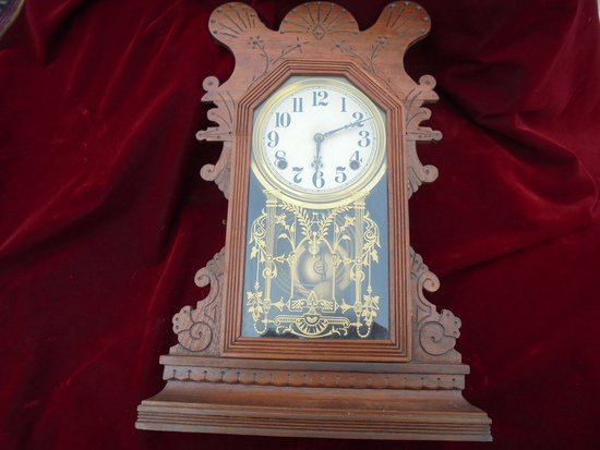 ANTIQUE EASTLAKE CARVED TALL WIND-UP CLOCK-19 1/2 INCHES TALL