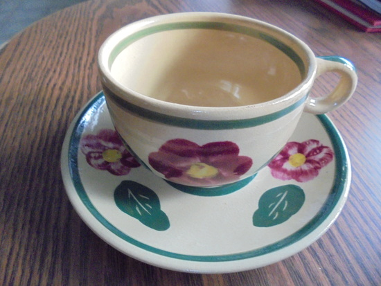 OLD WATT WARE CUP AND SAUCER-NICE COLOR AND GOOD CONDITION