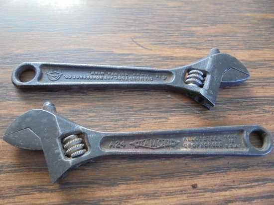 (2) OLD 4 INCH DIAMOND CRESENT WRENCHES