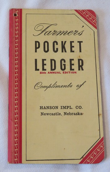 1951-1952 HANSEN IMPLEMENT CO. NEWCASTLE, NEBRASKA - JOHN DEERE POCKET LEDGER