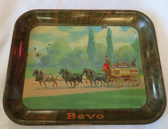 RARE - VINTAGE BEVO ANHEUSER-BUSCH ALE BEER TAVERN ADVERTISING SERVING TRAY
