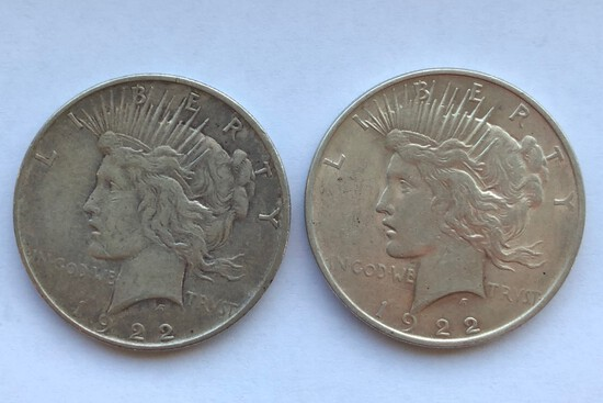 1922-D AND 1922 PEACE SILVER DOLLARS