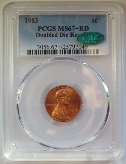 1983 DOUBLE DIE REVERSE LINCOLN CENT PCGS MS67+ RD CAC