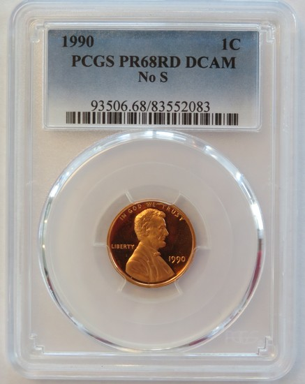 1990 NO S LINCOLN CENT - PCGS PR68RD DCAM