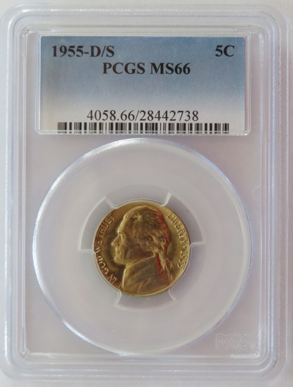 1955-D/S JEFFERSON NICKEL PCGS MS66