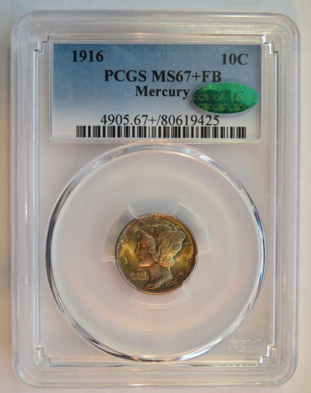 1916 MERCURY DIME - GRADED MS 67+ FULL BANDS BY PCGS WITH CAC