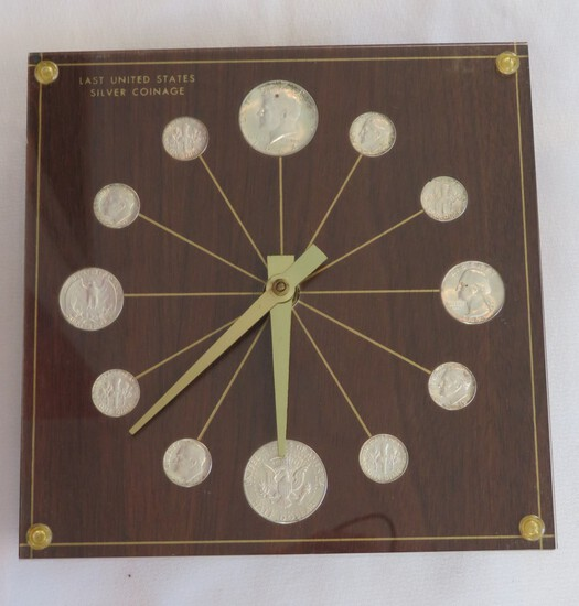 "VINTAGE ""LAST UNITED STATES SILVER COINAGE"" WALL CLOCK"