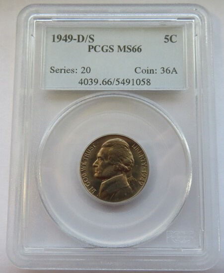 1949-D/S JEFFERSON NICKEL - GRADED MS66 BY PCGS