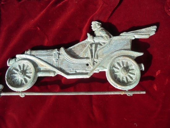 """MAGNIFICENT ANTIQUE WEATHER VANE ARROW WITH """"AUTOMOBILE"""" TAIL-STUNNING DETAIL"""