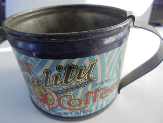 1912 MARKED FORBES COFFEE 3 OZ SAMPLE ADVERTISING TIN CUP-STUNNING ADVERTISING