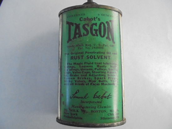"""OLD ADVERTISING OVAL 3 OZ """"CABOT'S TASGON"""" RUST SOLVENT TIN"""
