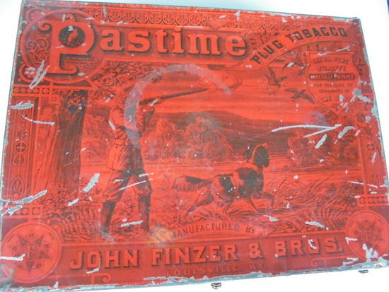 """ANTIQUE ADVERTISING TIN BOX """"PASTIME PLUG TOBACCO"""" STORE DISPLAY BOX-GREAT GRAPHICS AND COLOR"""