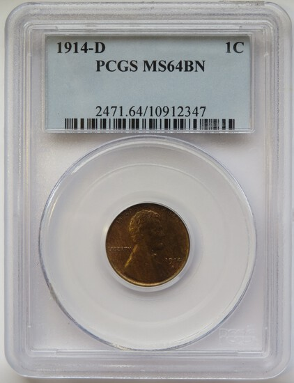1914-D LINCOLN WHEAT CENT - MS64BN BY PCGS