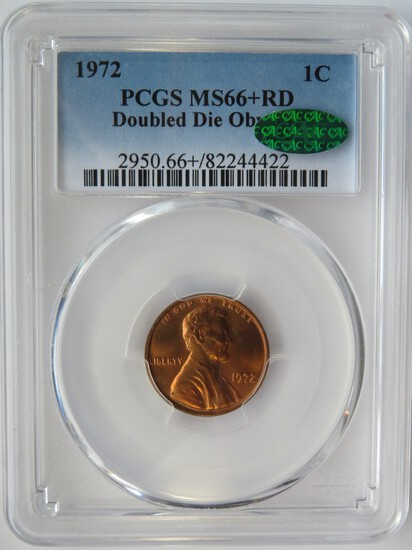 1972 LINCOLN MEMORIAL CENT - DOUBLE DIE OBVERSE - PCGS MS66+RD CAC