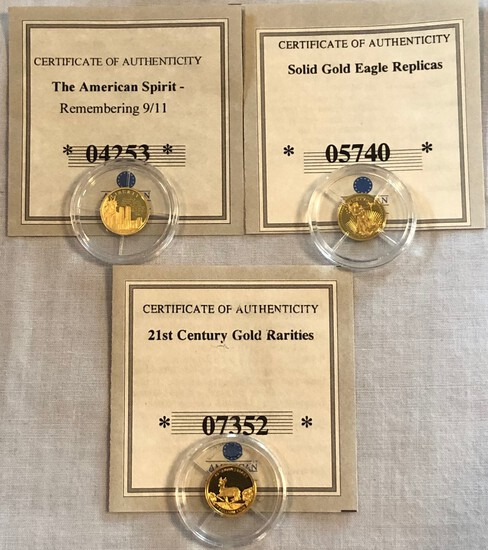 (3) .5 GRAM 585 GOLD COINS - FEATURING 9/11, KRUGERRAND , AND GOLD EAGLE