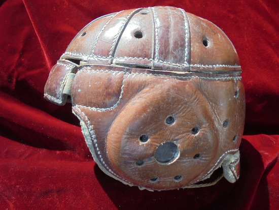 "VINTAGE LEATHER FOOTBALL HELMET WITH NICE MAKERS STAMP ""LOWE & CAMPBELL SPORTING'S GOODS"""