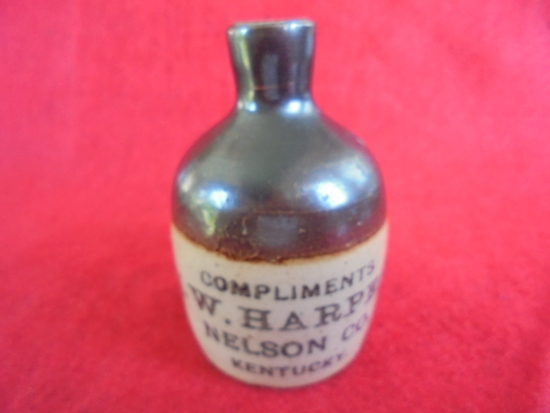 "OLD STONEWARE MINI-JUG WITH ADVERTISING ""L.W. HARPER"" NELSON CO. KENTUCKY"