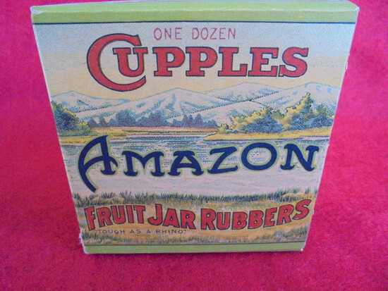 "VINTAGE ADVERTISING BOX ""CUPPLES AMAZON"" FRUIT JAR RUBBERS-STUNNING COLOR AND DESIGN"
