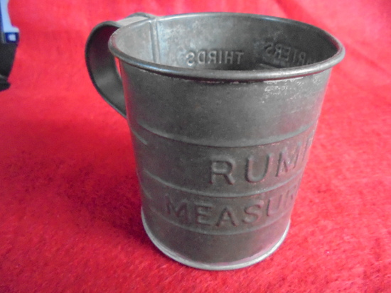 "OLD TIN MEASURE CUP W/ STAMPED ""RUMFORD"" ADVERTISING"