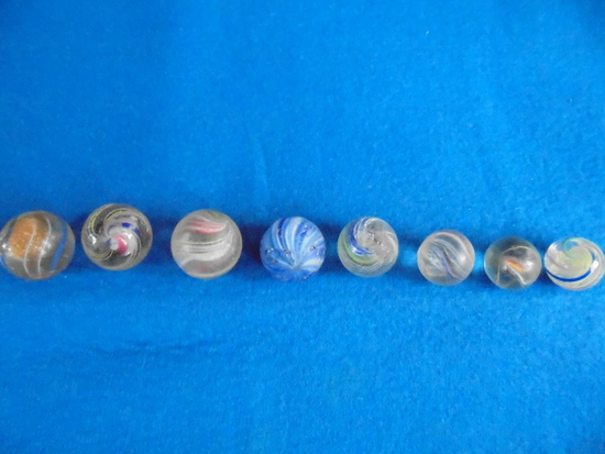 8 OLD SWIRL TYPE MARBLES IN SIZE RANGES-PLAY WITH