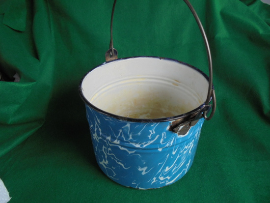 OLD BLUE & WHITE SWIRL ENAMEL WARE POT WITH BAIL HANDLE-SOME NICKS