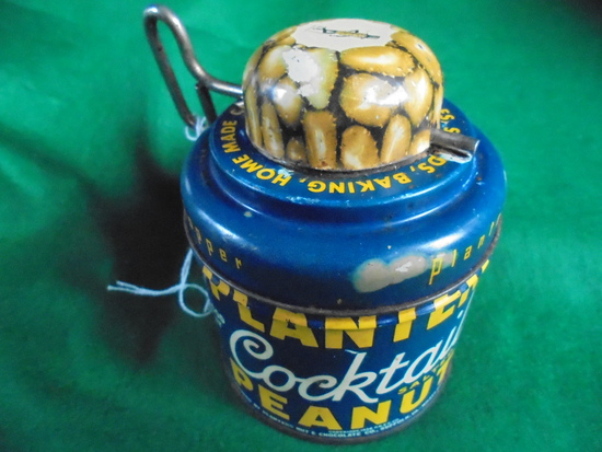 """VINTAGE ADVERTISING """"PLANTERS PEANUT"""" TIN WITH BUILT IN NUT GRINDER ON THE TOP-GREAT ADVERTISING"""