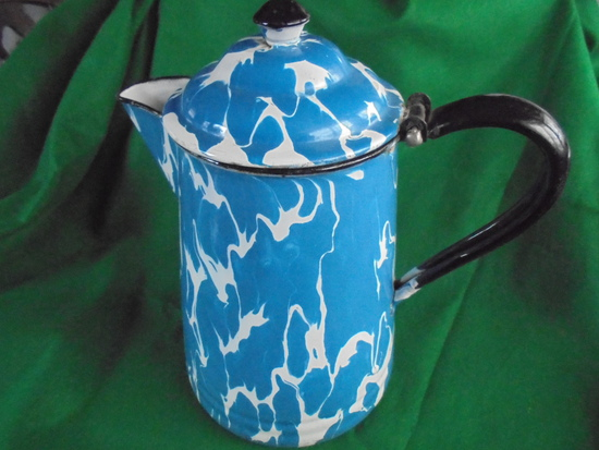 OLD BLUE & WHITE SWIRL ENAMEL COFFEE POT -10 INCHES TALL-QUITE NICE