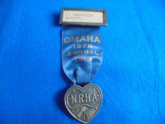 "1919 ""N.R.H.A."" CONVENTION PIN & RIBBON-OMAHA NEBRASKA"