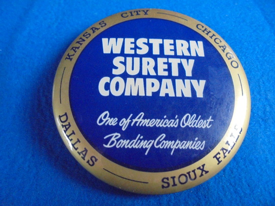 """OLD 3 1/4 INCH DESK MIRROR PAPER WEIGHT W/ADVERTISING FROM """"WESTERN SURETY COMPANY"""""""