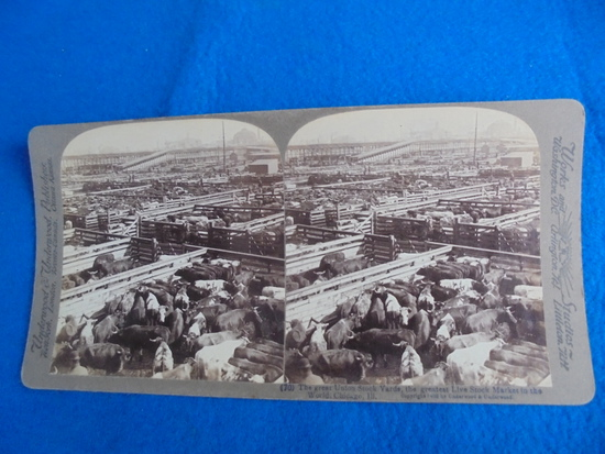 """OLD REAL PHOTO STEROVIEW OF THE """"CHICAGO UNION STOCK YARDS""""-QUITE GOOD"""