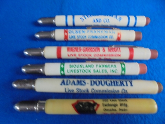 GROUP OF OLD ADVERTISING BULLET PENCILS FROM STOCK YARD COMMISSION COMPANY'S