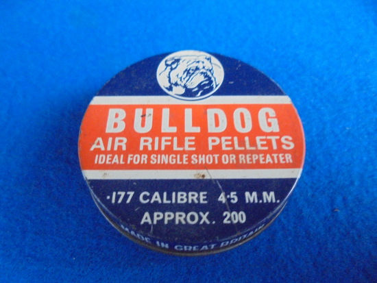 """VINTAGE ADVERTISING TIN WITH GRAPHIC """"BULLDOG AIR RIFLE PELLETS"""""""