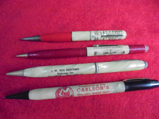 (4) OLD ADVERTISING MECHANICAL PENCILS WITH ADVERTISING