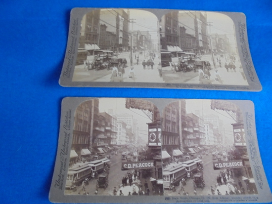 (2) EARLY STEROVIEW REAL PHOTOGRAPHS OF STREET VIEWS IN CHICAGO & ST. LOUIS-STREET CARS, PEOPLE ETC
