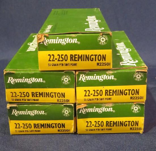 (5) Remington High Velocity 22-250 Rem 55gr SP