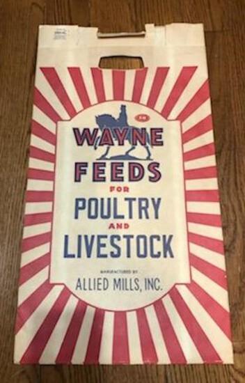 WAYNE FEEDS - NEW OLD STOCK - PAPER ADVERTISING SACK
