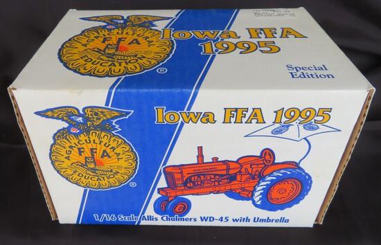 1995 IOWA FFA 1/16 SCALE ALLIS-CHALMERS WD-45 WITH UMBRELLA -- NEW IN BOX