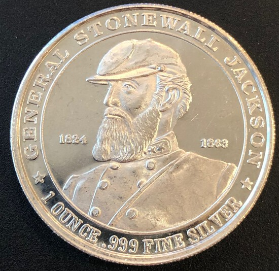Confederate General Stonewall Jackson - 1 Ounce .999 Fine Silver