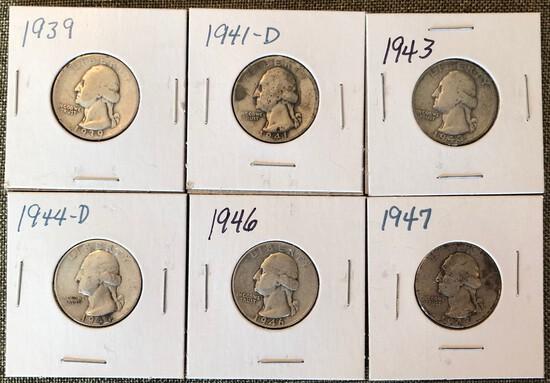 (6) Washington Silver Quarters